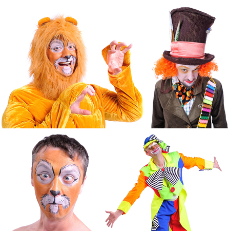 Collage of four pictures isolated: close-up portrait of smiling and fooling around animator in various theater roles. Emotional and colorful Imagens