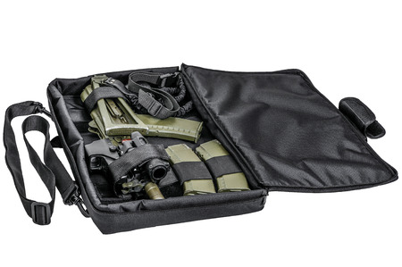gat: Bag for concealed carry of submachine gun. Isolated Stock Photo