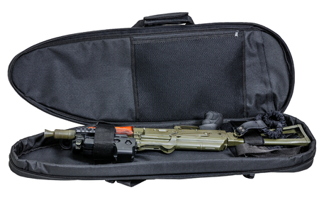 Bag for concealed carry of submachine gun. Isolated Imagens