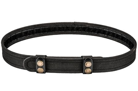 Military tactical belt with semi-automatic buckle for connection. Isolated