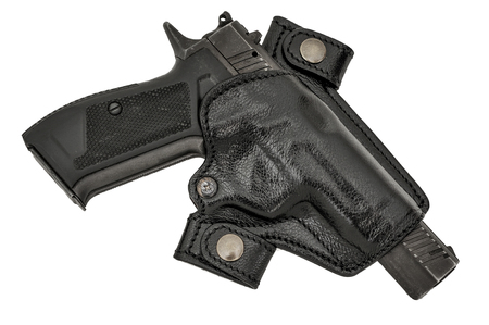 gat: Molded leather holster with handgun. Isolated