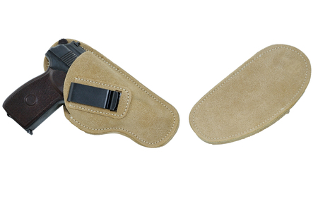 protective suit: The gun in a tactical leather holster. Isolated