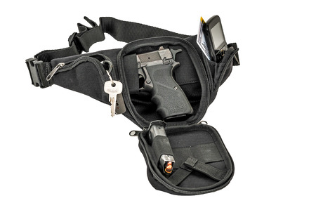 City tactical bag for concealed carrying weapons with a gun inside