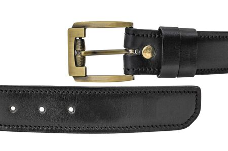 One gold prong belt with buckle, close up, isolated Stock Photo