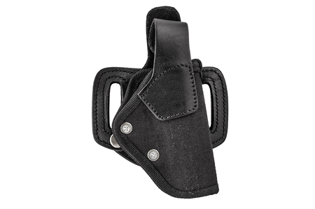 gat: Molded leather holster without handgun. Isolated Stock Photo
