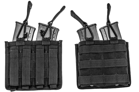 Carrying weapons case: military tactical cartridge pouch made from high-tech fabric with quick connection system, close up, isolated Фото со стока