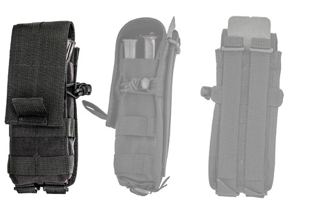 gat: Carrying weapons case: military tactical cartridge pouch made from high-tech fabric with quick connection system, close up, isolated Stock Photo