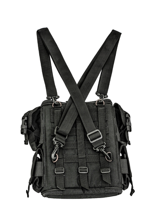 gat: Sappers shoulder bag with a modular system to carry full military equipment, black, isolated - view inside