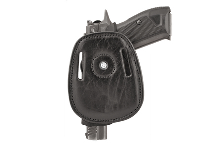 gat: The gun in a tactical leather holster. Isolated