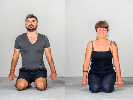 Collage of two: Yoga students showing different yoga poses.