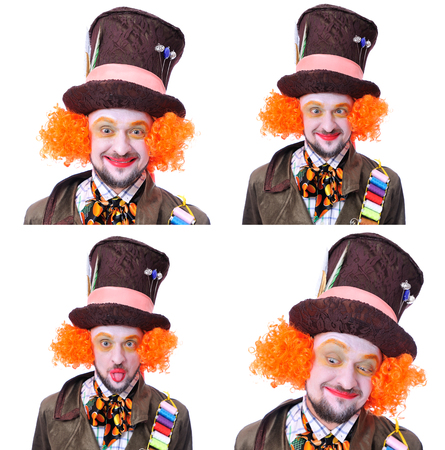 Collage of few pictures. Mad hatters different facial emotions. Close-up portrait of smiling and fooling around animator in various theater roles. Emotional and colorful