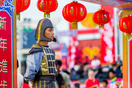 Pattaya, Thailand - February 19, 2015: spectacular celebrations of Chinese New Year 2558, Chinatown staging with festive paraphernalia and actors