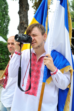KIEV, UKRAINE - AUGUST 24: Mega march of embroideries in the Ukrainian capital Kyiv. Portrait of an Ukrainian man