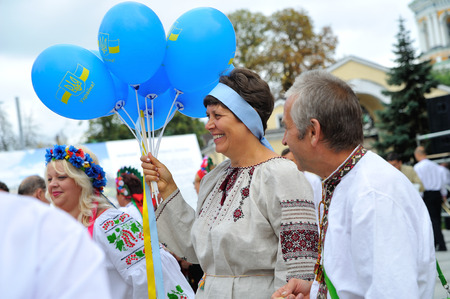 KIEV, UKRAINE - AUGUST 24: Mega march of embroideries in the Ukrainian capital Kyiv