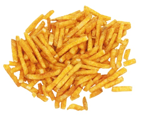 Pile of potato chips, isolated on a white background  photo