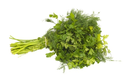 dill and parsley isolated on a white background Stock Photo - 8933752