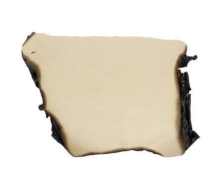 quemado: bordes de papel quemado aisladas sobre fondo blanco Foto de archivo