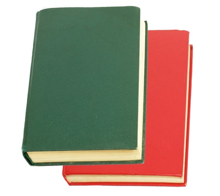 green book and red book on white background  photo