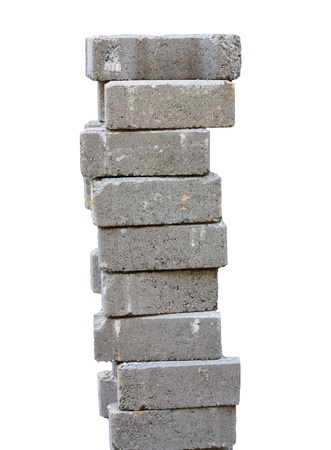 nine stacked bricks to build house or wall Stock Photo