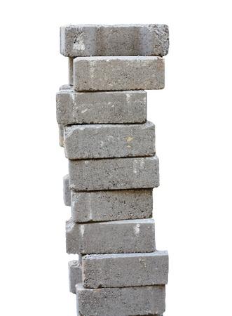 brick mason: nine stacked bricks to build house or wall Stock Photo
