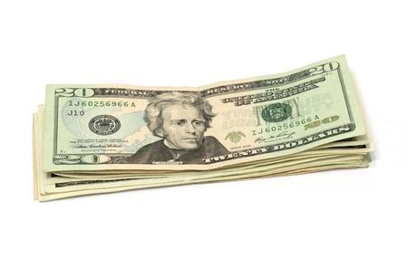 20: Twenty Dollar Us Bills  Stock Photo