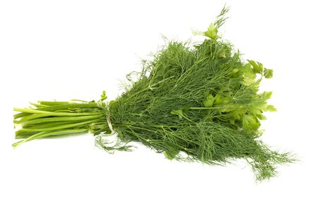 dill and parsley isolated on a white background  Stock Photo - 9466395