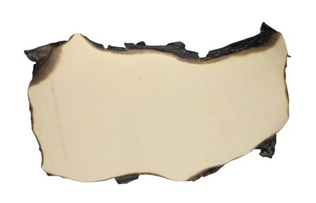 papel quemado: bordes de papel quemado aisladas sobre fondo blanco Foto de archivo