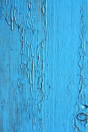 El cierre de los paneles de madera de color azul de la valla Foto de archivo