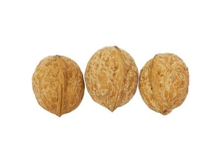 circassian: three circassian walnuts isolated on white  Stock Photo