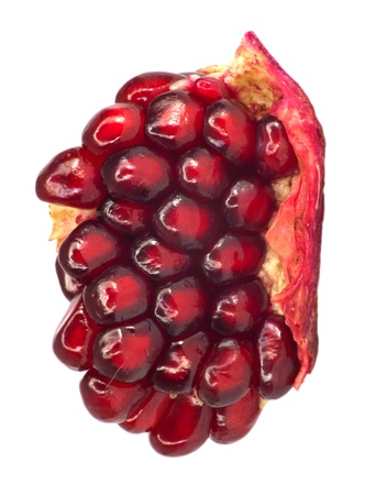 Extreme close up background of a red juicy ripe pomegranate fruit seeds  photo