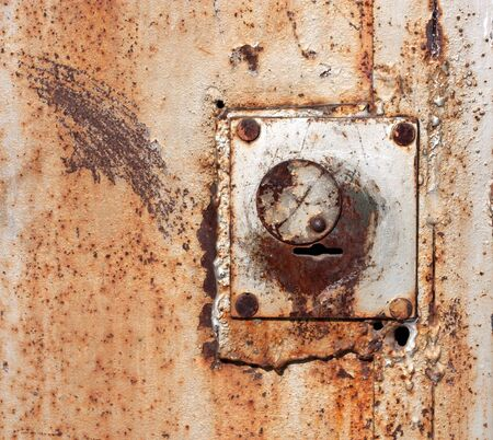 Old padlock on garage collars  photo
