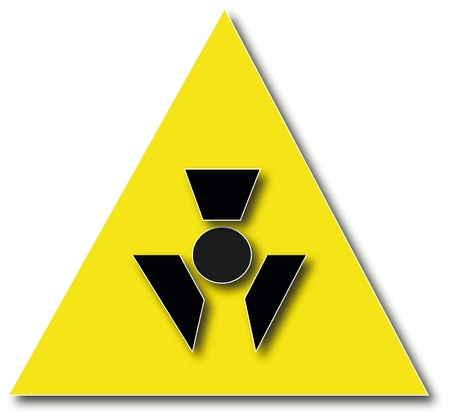 Nuclear radiation warning sign isolated on white photo