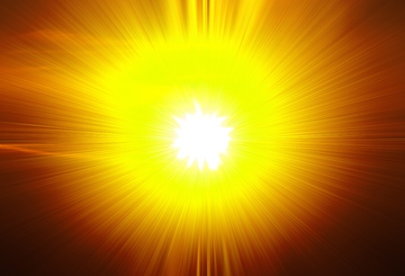 A star burst or lens flare over a black background. It also looks like an abstract illustration of the sun. Stock Illustration - 10295136