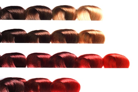 black dye: hair samples of different colors