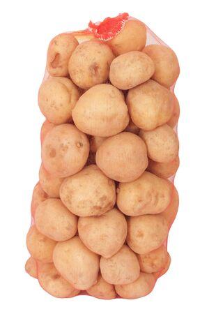 isolated sack of potatoes on white  photo