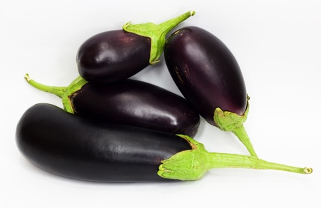 Eggplants on white with clipping path  photo