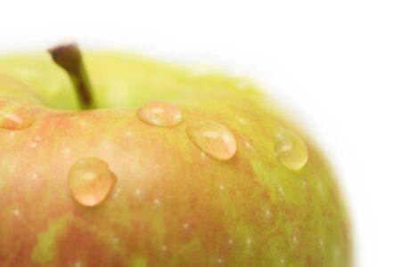 drops on the apple. macro photo