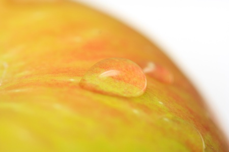 drops on the apple. close photo