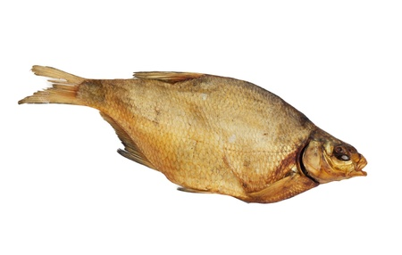 Smoked bream on a white background photo