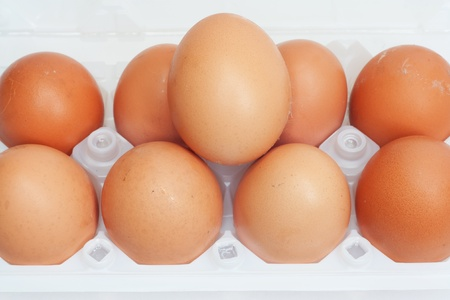 Fresh brown country eggs packaged in a dozen carton  photo