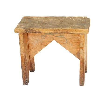 Old Wooden Stool Isolated  photo