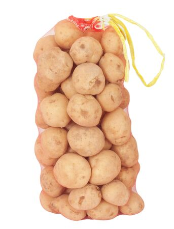 a sack of potatoes on a white background photo