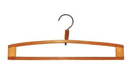 Wooden hanger, it is isolated on a white background  photo