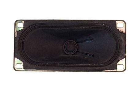 Black high-fidelity loudspeaker isolated on white background