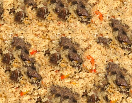 barberry: background of rice with meat. pilaf Stock Photo