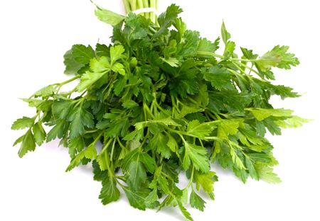 green leafy vegetables: Bunch of Fresh green parsley isolated on white background