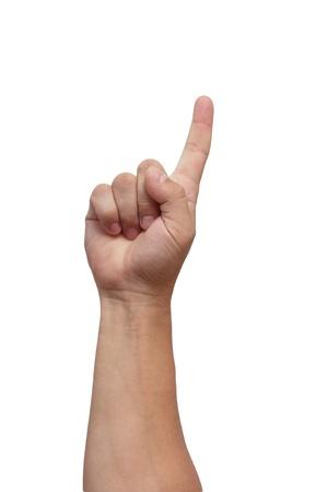 dedo �ndice: Mano masculina aislada sobre fondo blanco