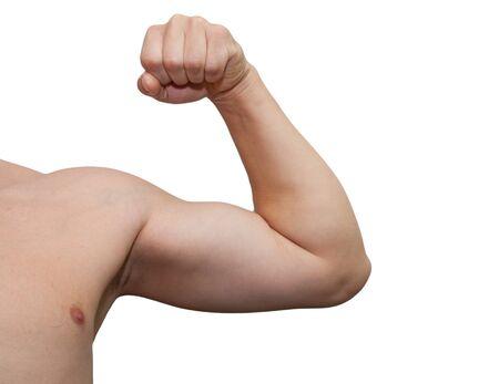 male arm: El brazo de hombres aislados en fondo blanco. Foto de archivo