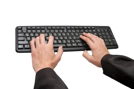 hands with the keyboard on a white background photo