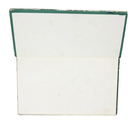 hard cover: Blank opened book with green hard cover isolated on white.